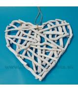 Srdce MAXI drevené odrezky biele 45cm