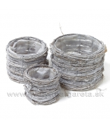 Obaly okrúhle vinič/lyko sada 3 kusy Antik biela glitter 24/19/14 cm
