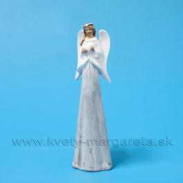 Anjel so srdiečkom v náručí v kožúšku sivo-biely 23cm