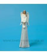 Anjel so srdiečkom v náručí v kožúšku sivo-biely 20cm