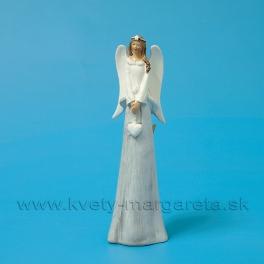 Anjel so srdiečkom v kožúšku sivo-biely 23cm