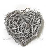 Srdce drevené odrezky obojstranné strieborné s glitrom 30cm