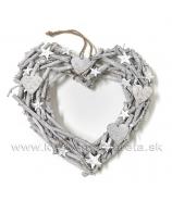 Srdce drevené odrezky obojstranné strieborné s glitrom 40cm