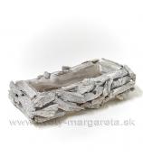 Hranatá miska plavené drevo Antik biela s glitrom 40x23 cm