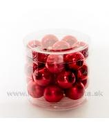 Sklenené guľky 2.5cm 24 kusov lesk-mat červené