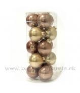 Sklenené vianočné gule 6cm 30 kusov lesklé Zlato dva odtiene