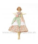 Anjelik bábika Dolly v šatách s mašľou lososovo-zelená