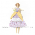 Anjelik bábika Dolly v šatách s mašľou žlto-fialová