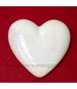 Srdiečko porcelánové biela perleť s glazúrou 9x8 cm