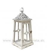 Lampáš Altánok Hexagon bielo-sivá patina 42cm
