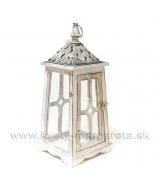 Lampáš Altánok Kružnice bielo-sivá patina 48cm