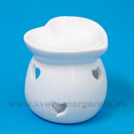Aromolampa srdiečko biely porcelán 8cm