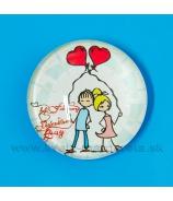 Valentínka Dvaja na lavičke vypuklá magnetka šošovka 3.5cm