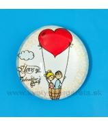 Valentínka Dvaja s balónmi vypuklá magnetka šošovka 3.5cm
