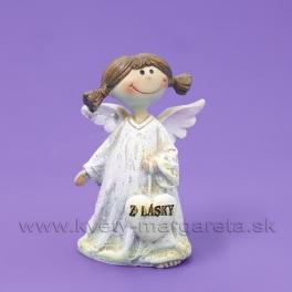 Anjelik dievčatko so srdcom Z lásky zaveseným 8cm