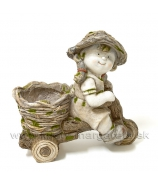 Chlapec záhradník s húskou kvetináč 35cm