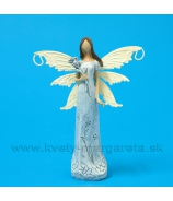 Víla s kvetom plechové krídla 15cm Sivá patina krémové krídla