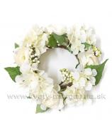 Venček Hortenzie a Ranunculusy, biely 24cm