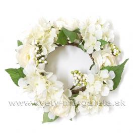 Venček Hortenzie a Ranunculusy, smotanovo biely 24cm