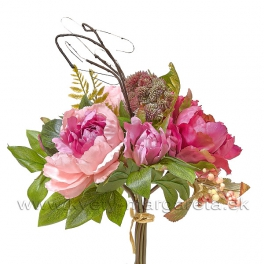 Okrúhla kytica z Pivónií rúžový mix 30cm