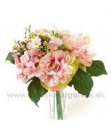 Kytica Pivónií s Hortenziami a Adiantom 30cm rúžovo-krémová
