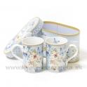 Šálky Kvetiny s motýľmi sada 2 kusy v darčekovej krabičke modré
