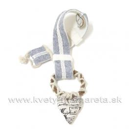 Textilné srdce na filcovej štóle 75cm bielo-sivá