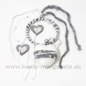 Záves filcové srdce s obručou 40cm bielo-sivé