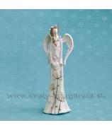 Anjel Achilea so srdcom a vrkočom krémový 20cm