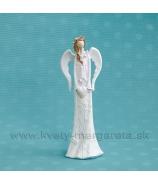 Anjel Achilea so srdcom a vrkočom biely 20cm