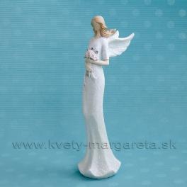 Anjel Flying Angels s rúžovými ružami v rukách s glitrom 24cm