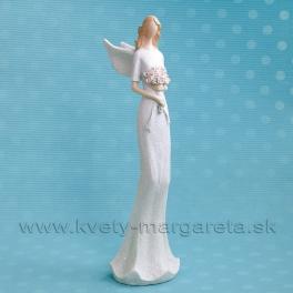 Anjel Flying Angels s rúžovými ružami v rukách s glitrom 33 cm