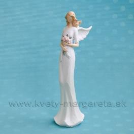 Anjel Flying Angels s rúžovými ružami v rukách 33 cm