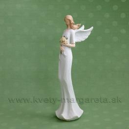 Anjel Flying Angels so žltými ružami v rukách 33 cm