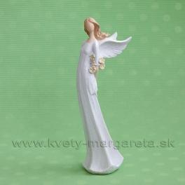 Anjel Flying Angels so žltými ružami za chrbtom 33 cm