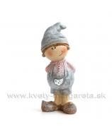 Chlapček s kapsou v čiapke stojaci sivo-rúžový 8cm