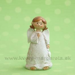 Anjel Medulienka držiaca srdce 10 cm biela