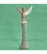 Anjel rozlet - Z lásky 27 cm bielo-sivý