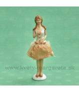 Dievča Úprimnosť s textilná sukňa 16cm škoricová