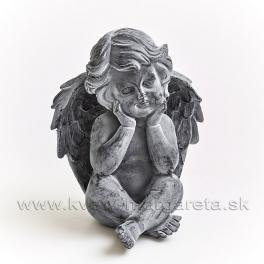 Anjel Amor sediaci s hlavou v dlaniach sivý 12cm