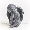 Anjel Amor sediaci s hlavou opretou o ruku sivý 17cm
