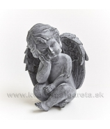 Anjel Amor sediaci s hlavou v dlaniach sivý 17cm