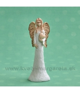 ANJEL SOFIA so srdcom v ruke bielo-terakotová 14cm