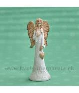 ANJEL SOFIA so zaveseným srdcom bielo-terakotová 14cm
