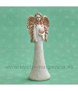 ANJEL SOFIA so srdcom v ruke bielo-terakotová 18 cm