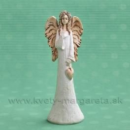 ANJEL SOFIA so zaveseným srdcom v ruke bielo-terakotová 18 cm