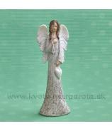 ANJEL SOFIA so zaveseným srdcom v ruke bielo-sivá 18 cm