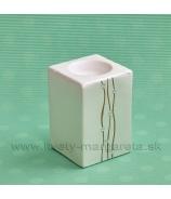 SUPER CENA - 50% Svietnik hranol perleť zlaté krivky 10 cm