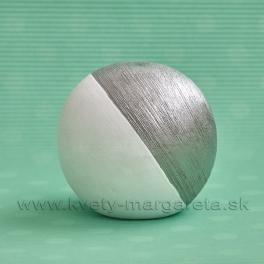 SUPER CENA - 50% Guľa dekoratívna keramická bielo-strieborná 10cm