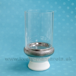 SUPER CENA - 50% Svietnik sklo s keramikou bielo-strieborný 23 cm